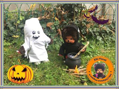 halloween monchhichi kiki bubbles Diana vintage chaudron sorcière fantôme bâton sort bonbons