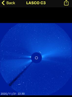 OVNI sale disparado más allá del sol, luego gira en dirección opuesta a la atracción gravitacional del sol, noviembre de 2020 4