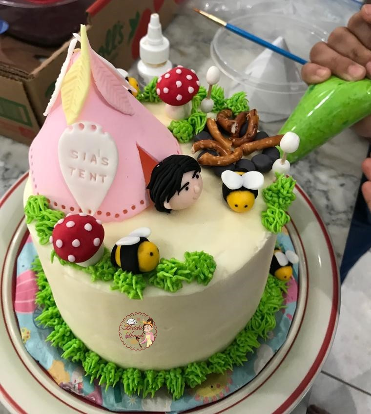 Tremendous Camping Themed Birthday Cake And Party Ideas Aaichi Savali Funny Birthday Cards Online Bapapcheapnameinfo