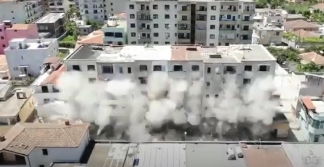 6-storey destroyed with C4 explosives in Durrës