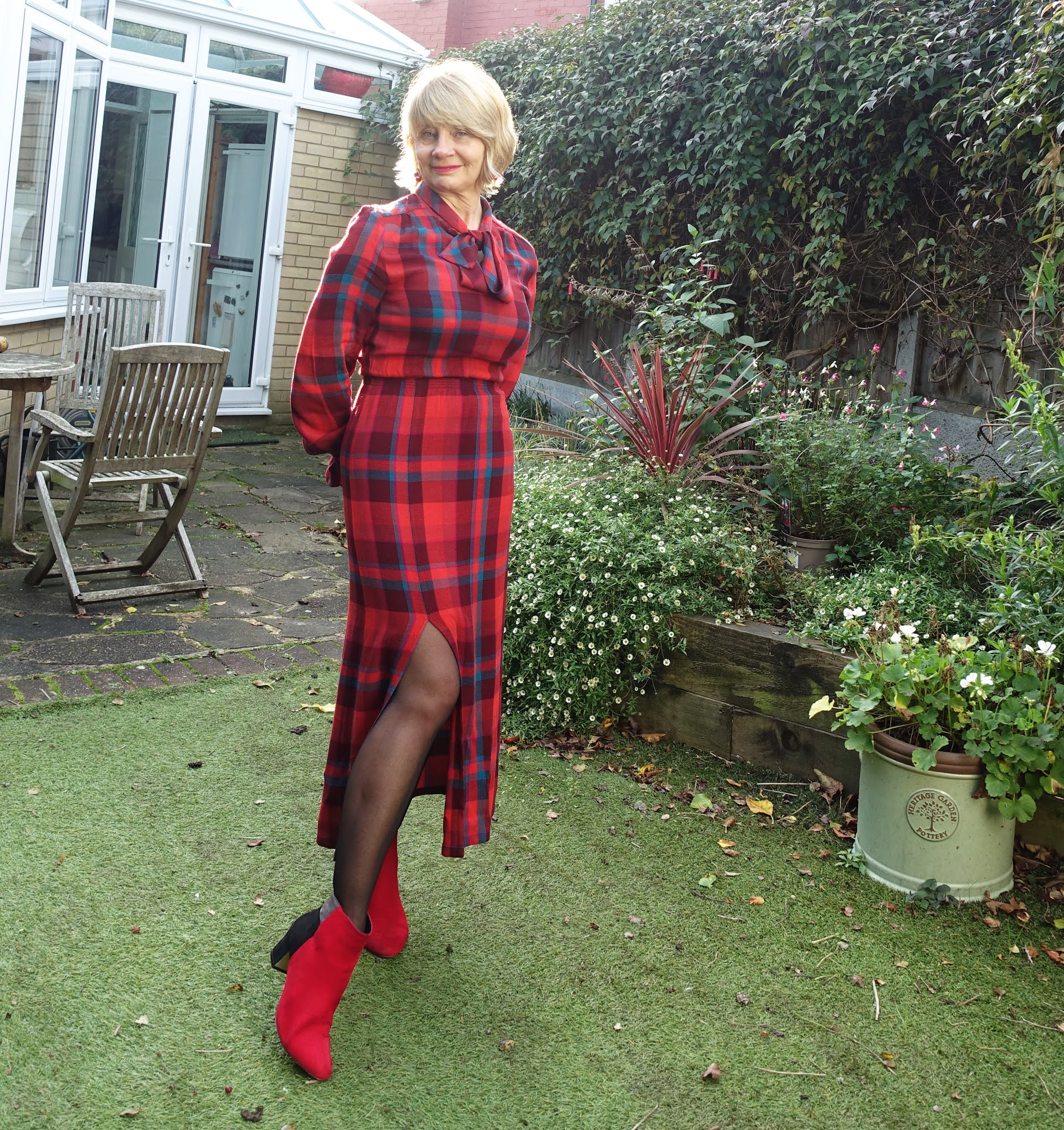 Celebrating a big birthday in a Fabienne Chapot red plaid dress
