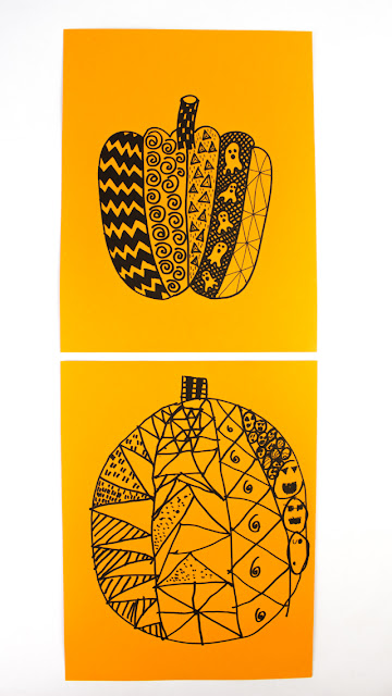 Fun Halloween Drawing Prompt- Pumpkin Zentangles for Kids and Adults