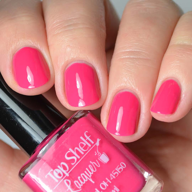 pink nail polish four finger swatch