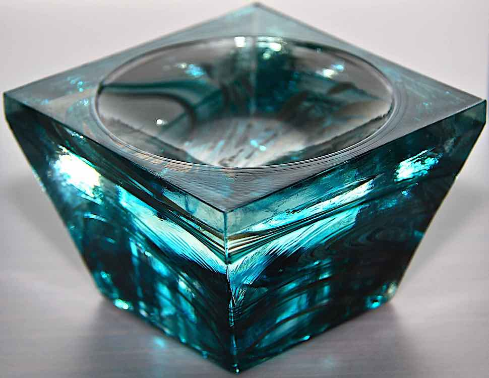 a blue Murano glass dish 1970s