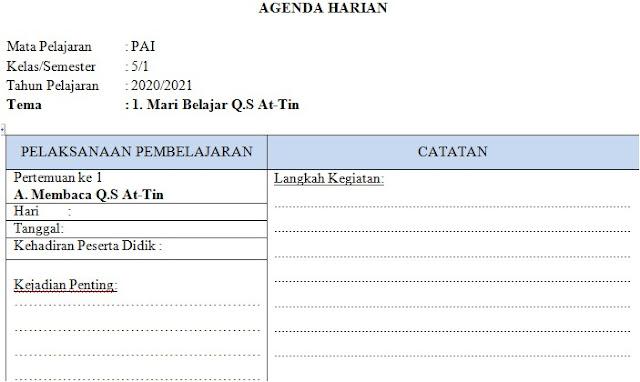 Agenda Harian Guru PAI Kelas 5 SD/MI Semester 1 Kurikulum 2013 Tahun 2020/2021 - Guru Krebet 3