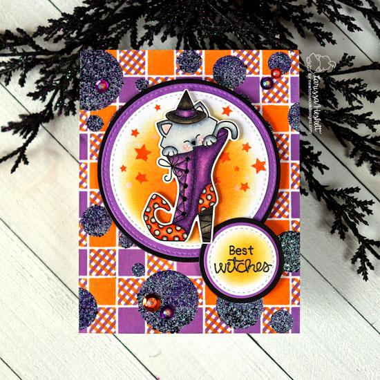 Newton's Nook Designs & WOW Embossing Powders Inspiration Week - Halloween card by Larissa Heskett | Witchy Newton Stamp Set, Gingham Stencil and Bokeh Stencil Set by Newton's Nook Designs with embossing powder by WOW! #newtonsnook #wowembossing