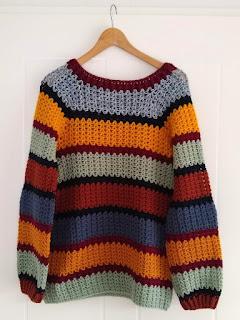 trui met aangehaakte raglanmouwen, rondhaken, haakpatroon