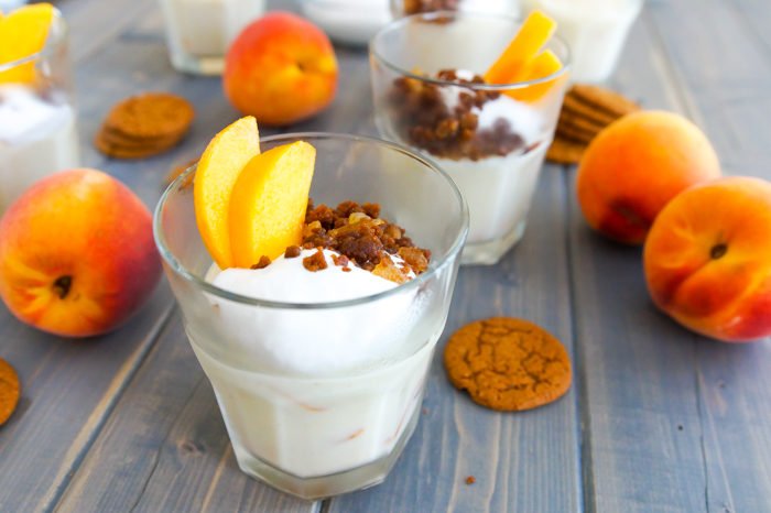 Peach Pudding with Ginger Crumble