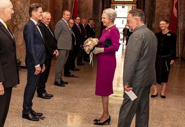 Danish Order of Freemasons. Princess Benedikte of Denmark wore a burgundy midi dressi and gold vintage crown trifari bough rhinestone brooch