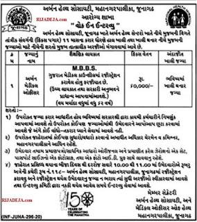 Urban Health Society Junagadh Medical Officer Recruitment 2020