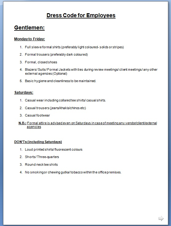 employee dress code policy template for office business casual
