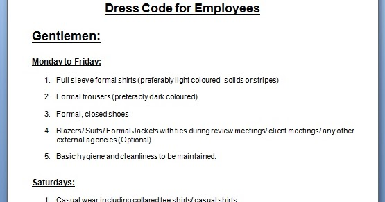 employee dress code policy template for office