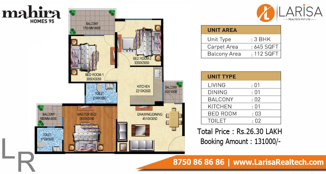 Mahira Homes 95 3BHK Floor Plan