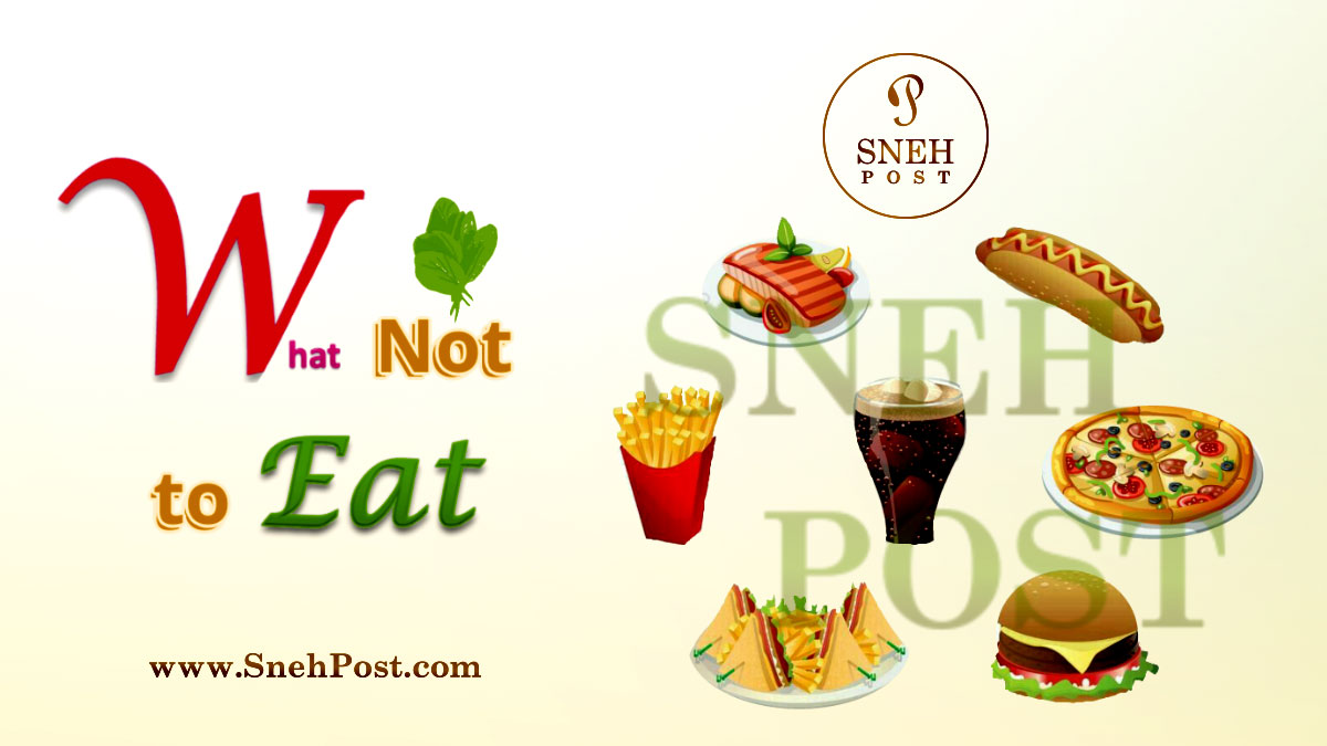 Healthy eating habit: What not to eat (Illustration of not-so-healthy fast-foods such as french fries, pitza, burger, etc.)