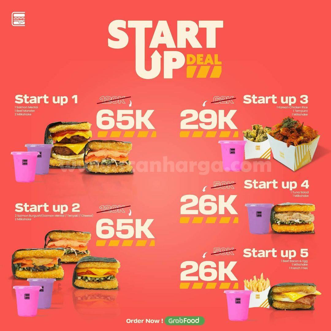 Promo BURGUSHI Paket START UP: Harga Mulai Rp 26.000 aja! via Gofood & Grabfood