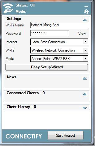 konfigurasi connectify 8