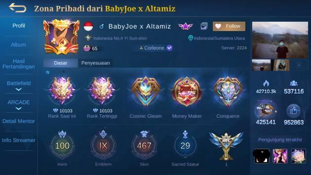 Profil baby joe x altamiz top 1 global rank season 18