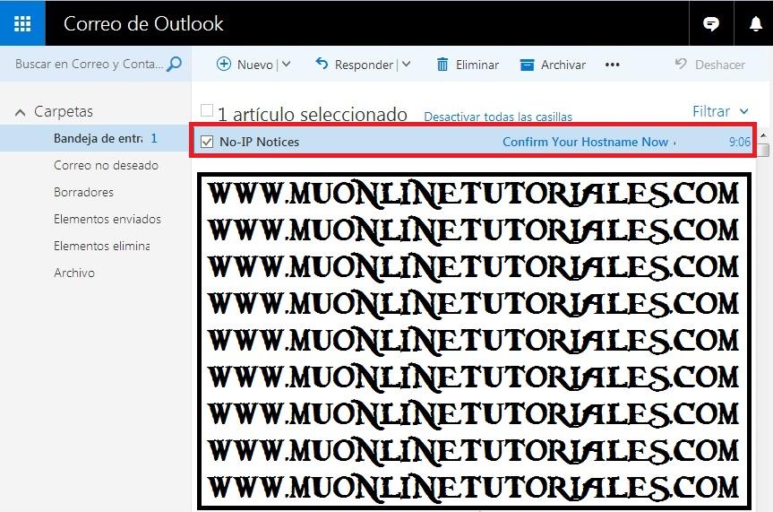 Email informando la renovacion del servicio