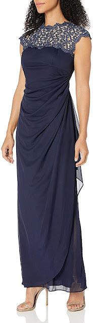 Navy Blue Metallic Cutout Lace Dress