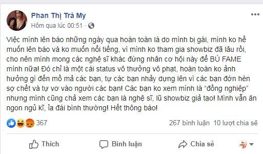 """Diễn viên Trà My hết cảm ơn Covid vì giúp """"chết bớt cho rộng chỗ"""" lại tiếp tục gọi dân Việt Nam là """"lũ ngu"""""""