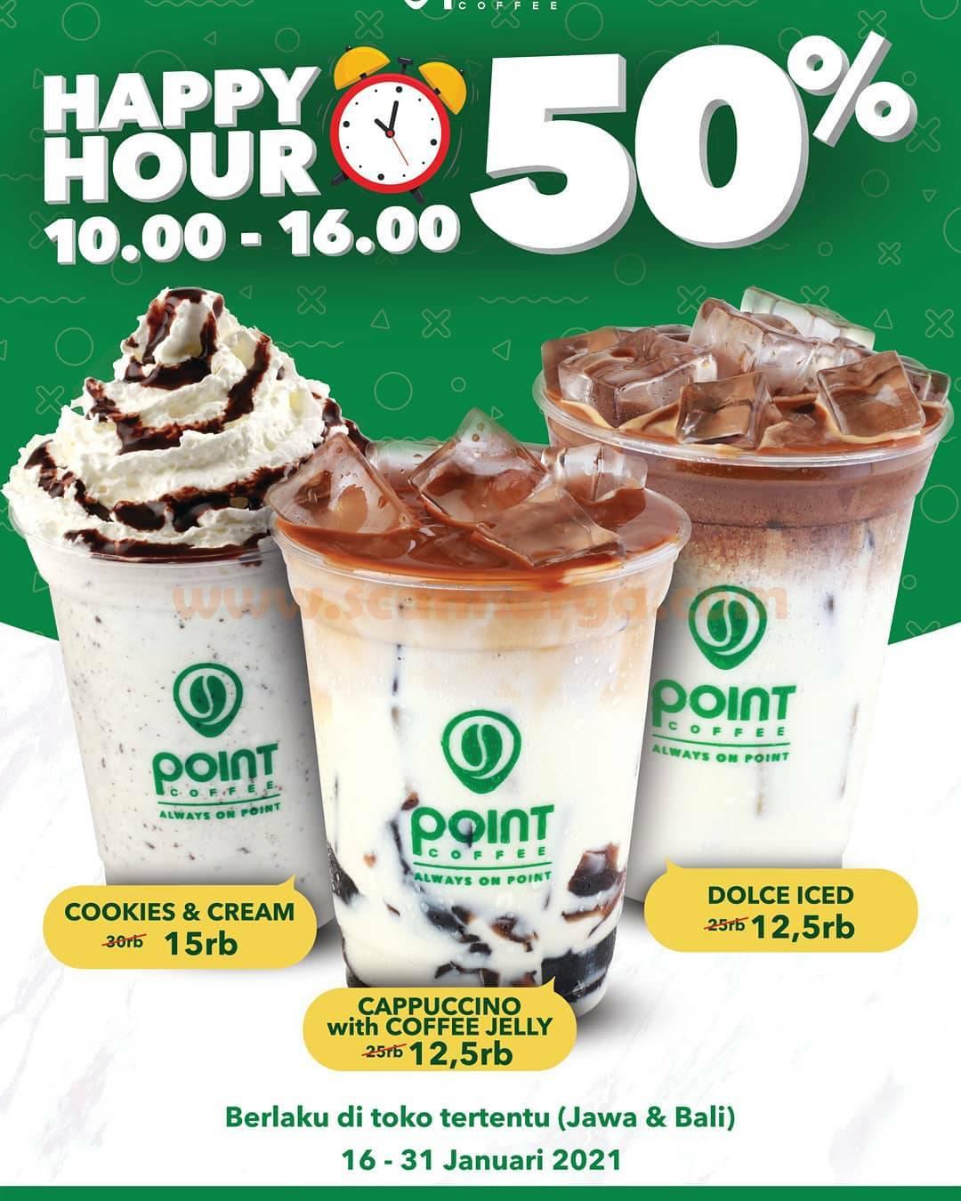 POINT COFEE Promo HAPPY HOUR Diskon hingga 50%