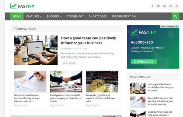 Chia sẻ giao diện blogger Fastify blogger template