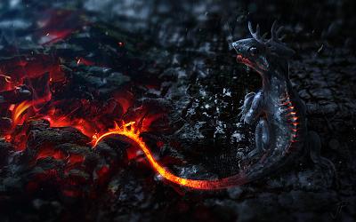 Lagarto de fuego junto a lava encima de cenizas