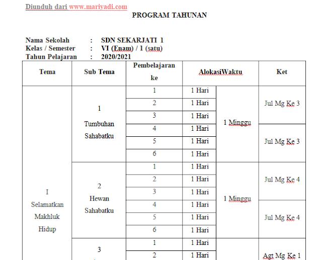 PROTA (Program Tahunan) Kelas 1, 2, 3, 4, 5, 6 SD/MI Kurikulum 2013 Tahun Pelajaran  2020/2021