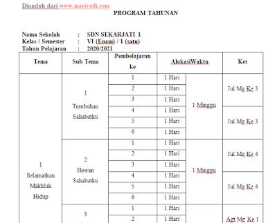 Program Tahunan (PROTA) Kelas 6 SD/MI Kurikulum 2013 Tahun Pelajaran 2020/2021