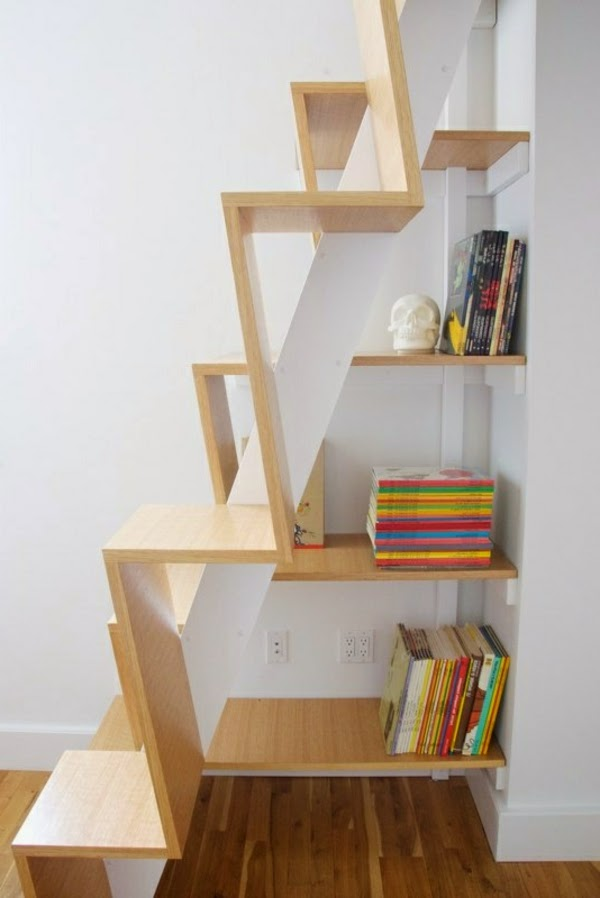 space saving stairs with bookshelves for storage and decoration