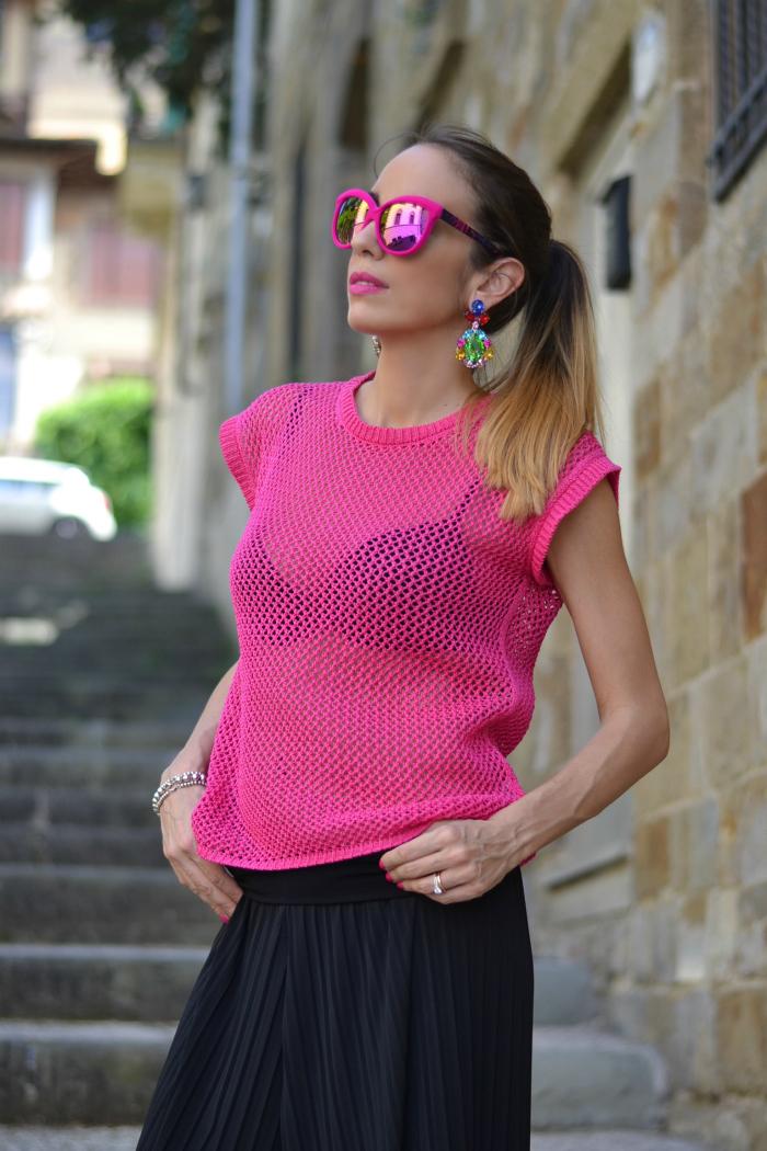 maglia cotone rosa fuxia