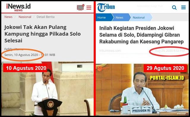 Katanya Jokowi Tak Akan Pulang Kampung hingga Pilkada Solo Selesai, Ternyata Bohong (Lagi)