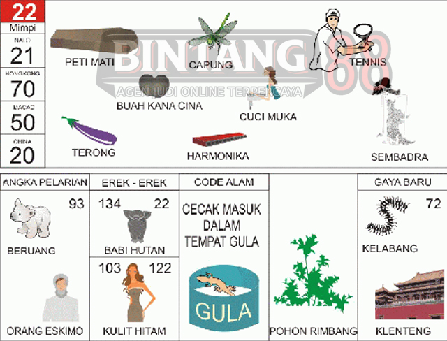22 = Peti Mati, Capung, Cuci Muka, Tenis, Buah Kana, Harmonika, Cuci Muka, Terong, Sembadra.