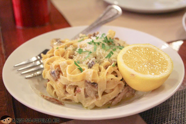 Lemon mushroom pasta of Gino's Brick Oven Pizza