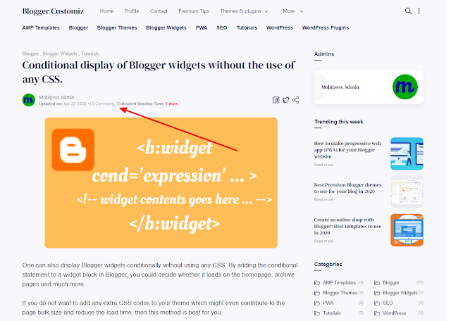 How to add estimated reading time to Blogger post