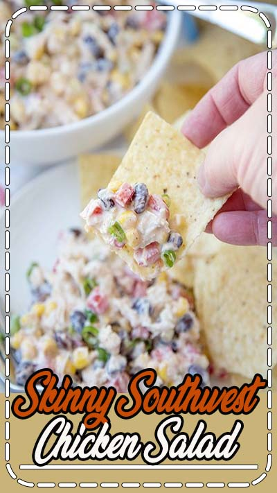 Skinny Southwest Chicken Dip is full of shredded chicken and loads of veggies and spices for a healthy Southwest Chicken Salad appetizer or main course!