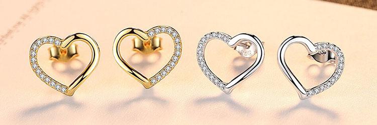 優雅愛心 925純銀鋯石耳環