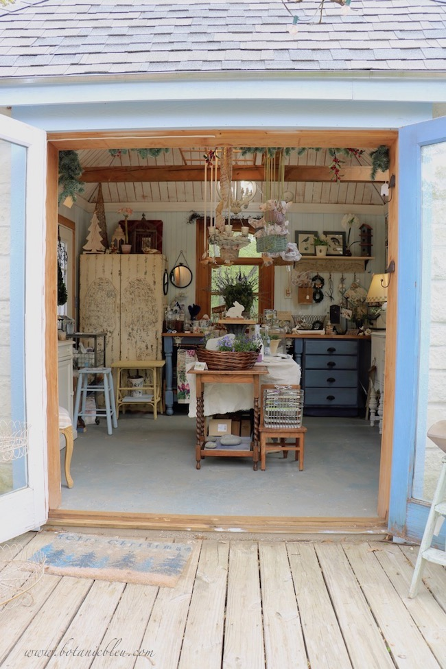 French Country is in the details garden shed with open French doors