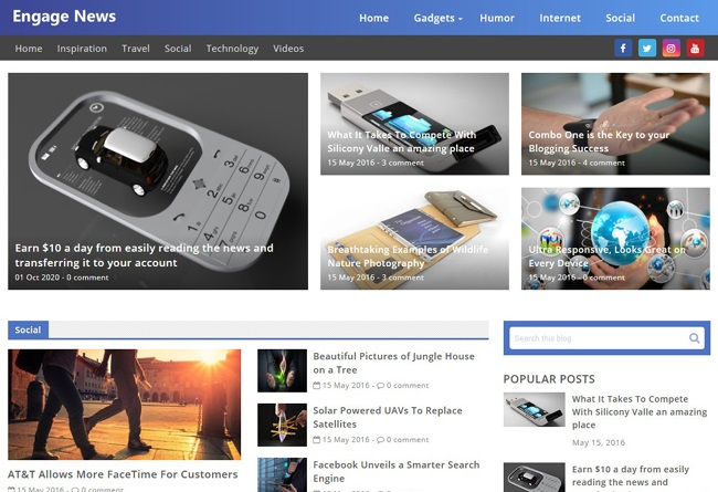 Engage is an ideal news blogger template having 40 articles on homepage.