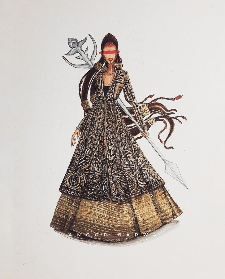 06-Indian-Dress-Drawings-Anoopbarwa-www-designstack-co