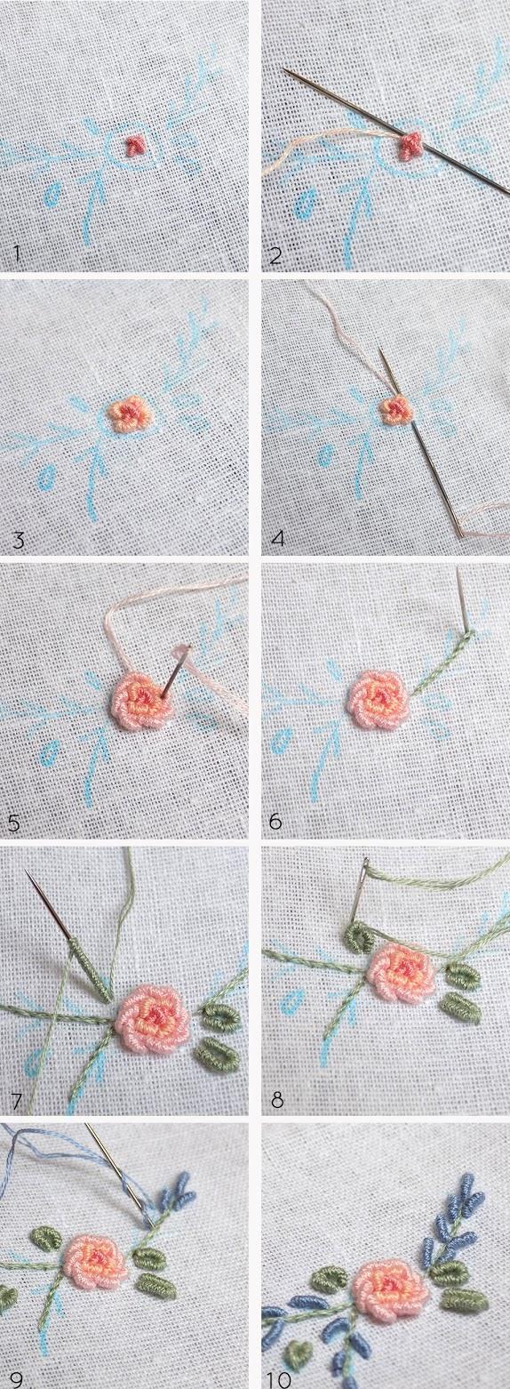Hướng dẫn thêu hoa hồng bằng mũi xoắn bọ