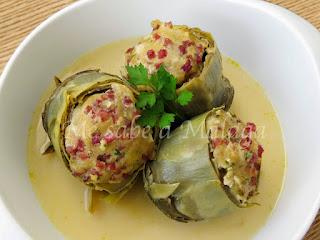 receta malagueña de alcachofas rellenas
