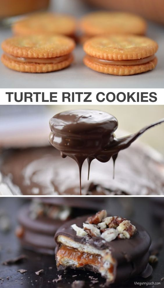 Turtle Cookies - Caramel Filled Ritz