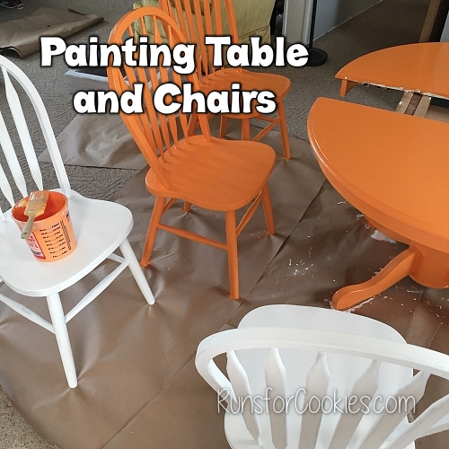 Painting my table and chairs orange