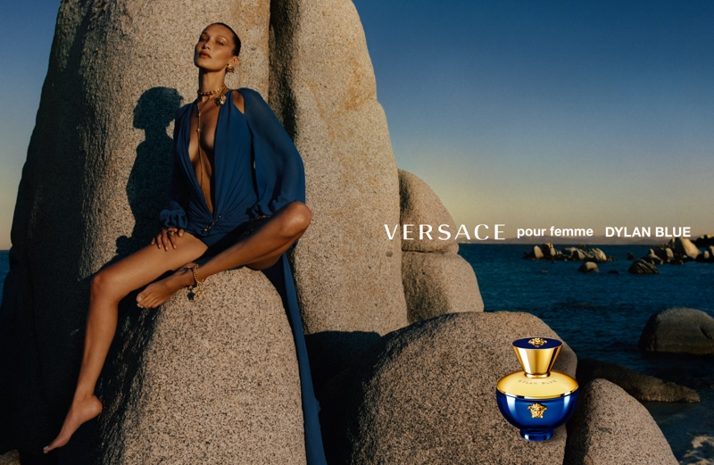Bella Hadid stars in Versace Dylan Blue fragrance campaign.