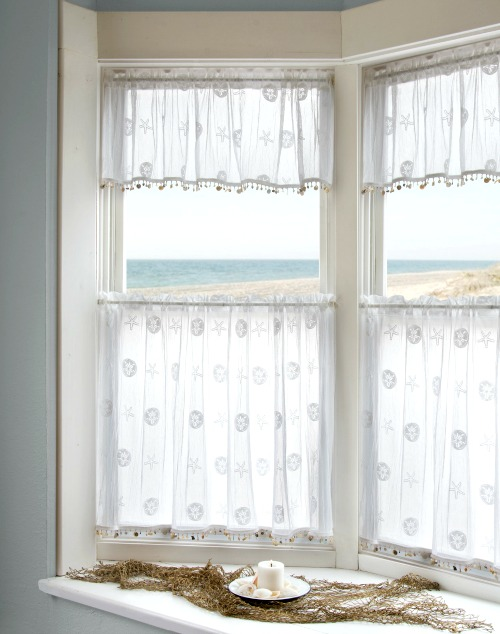 Sheer Sand Dollar & Starfish Valance