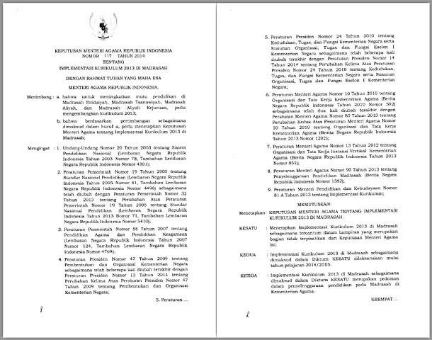 KMA Nomor 117 Tahun 2014 Tentang Implementasi  Kurikulum 2013 di Madrasah