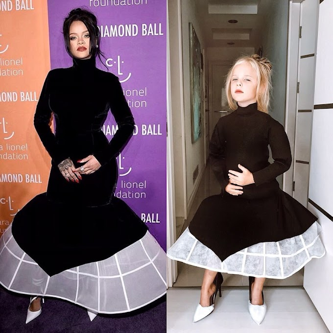 5 Year Old Stefani Chaglar, Recreates 6 Of Rihanna's Red Carpet Outfits, And We Love Them!
