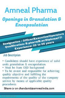 Diploma/ ITI/ B.Pharm/ B.Sc Job Opening for Manufacturing Amneal Pharmaceuticals Pvt. Ltd