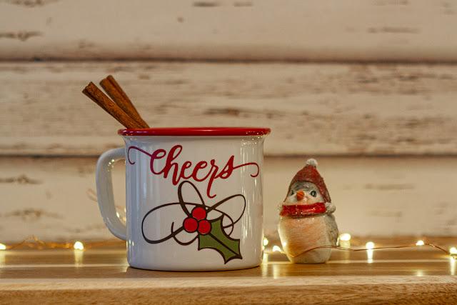 Quietfire Design 2019 Calligraphic Christmas Bundle of metal dies / Christmas Mug using vinyl